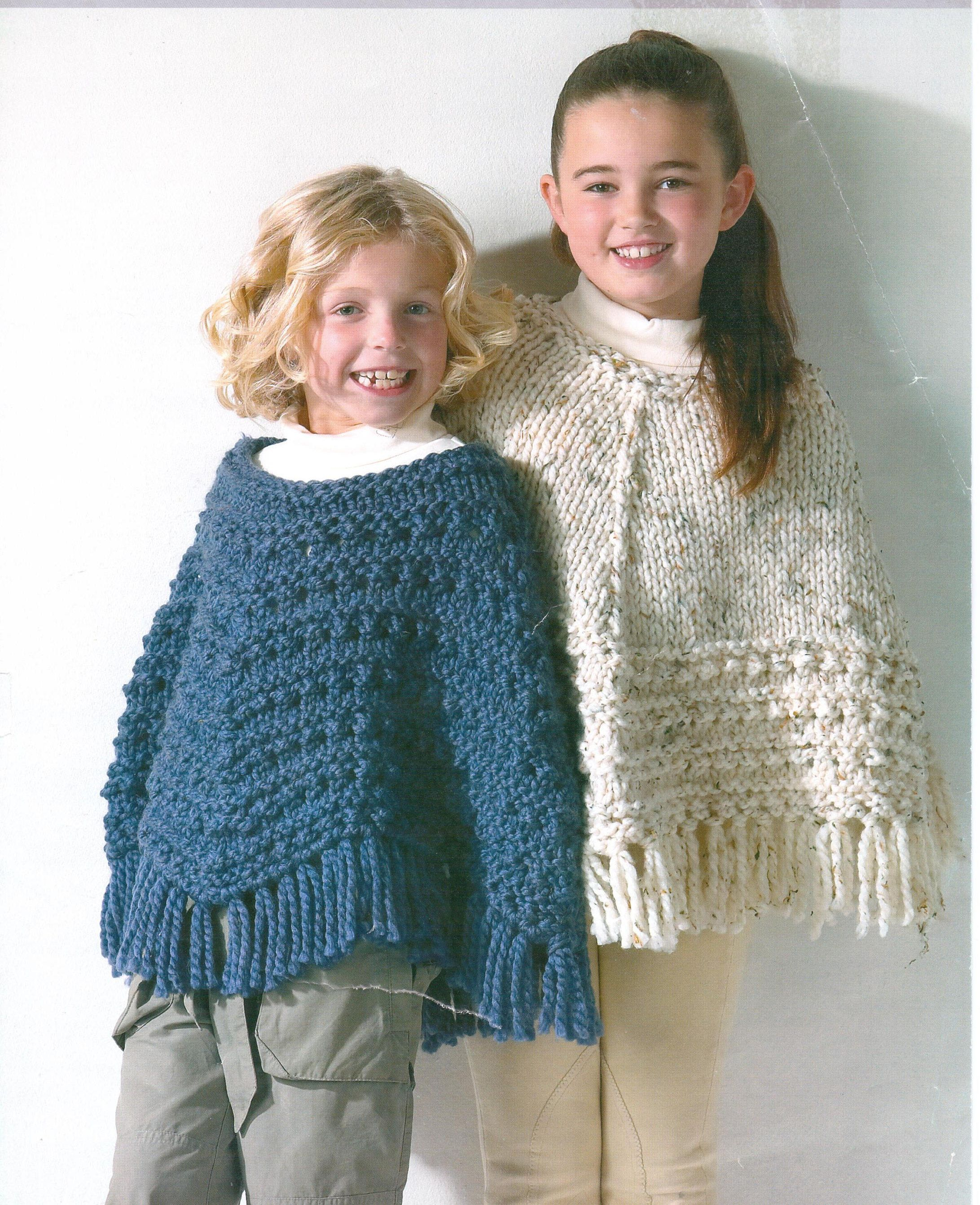 Children\'s Ponchos Knitting Pattern Childs Ponchos Bobble Textured ...
