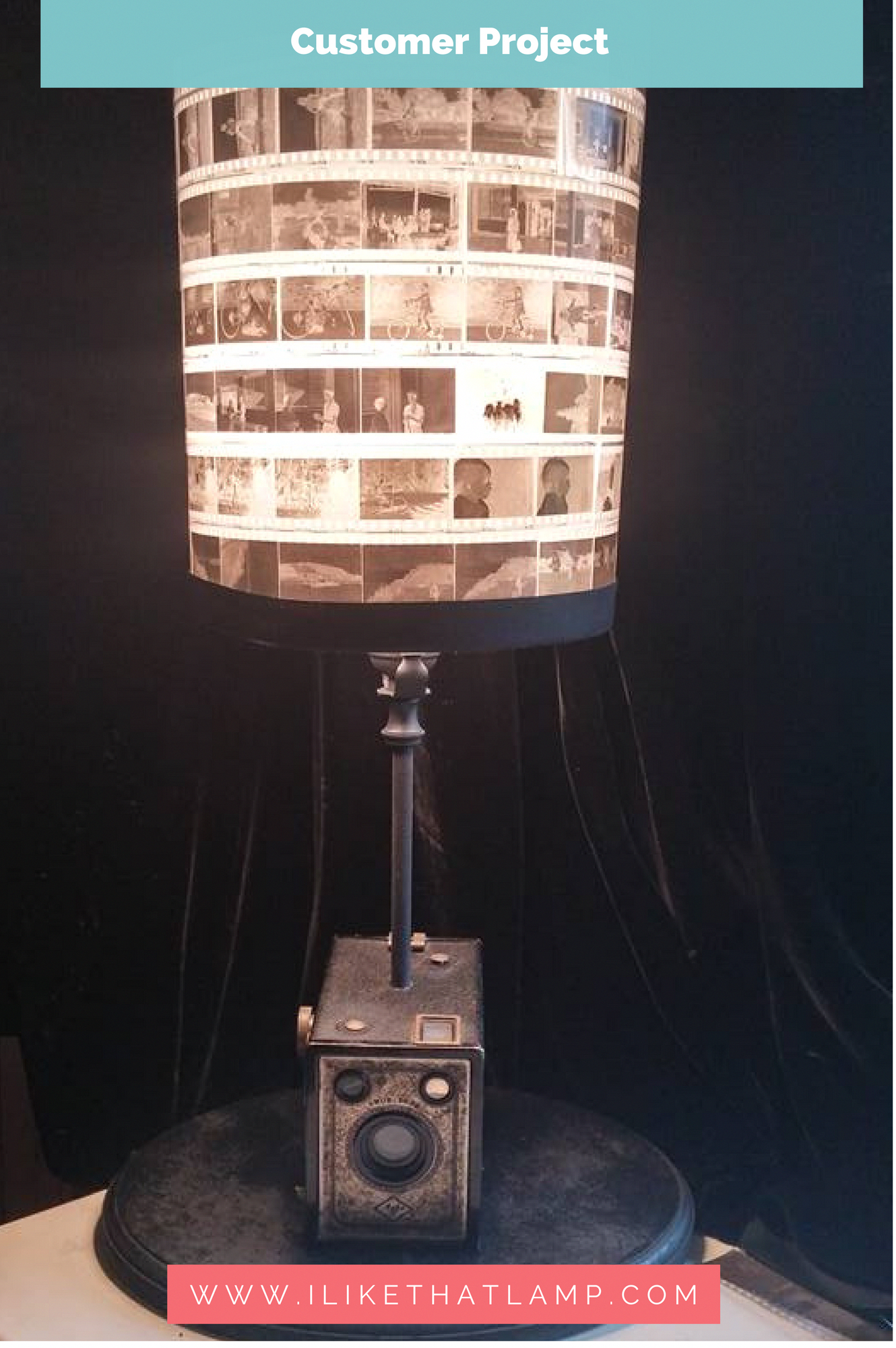 1930 S Vintage Camera Box Lamp With A Diy Lampshade Made Of 35 Mm Negatives Tablelamps Camera Lamp Lamp Diy Lamp Shade