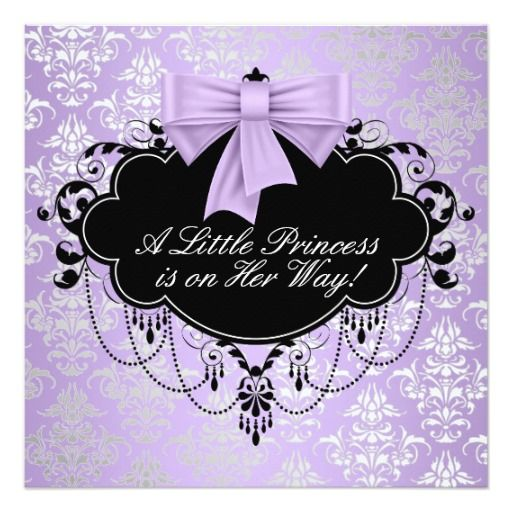 "Silver Purple Black Princess Baby Girl Shower 5.25"" Square Invitation Card"
