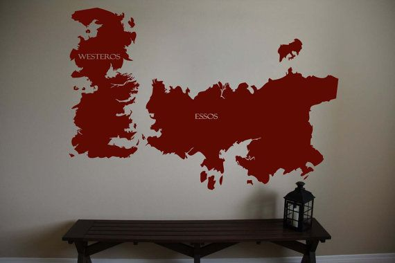 "Game of Thrones World Map Westeros Essos Vinyl Wall Sticker Decal 32""h x 46""w"