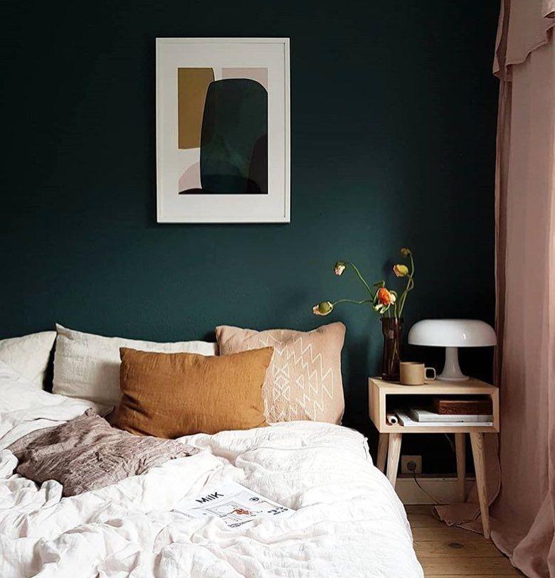 Teal Painted Wall Dark Colorful Moody Interiors Teal Blush Pink