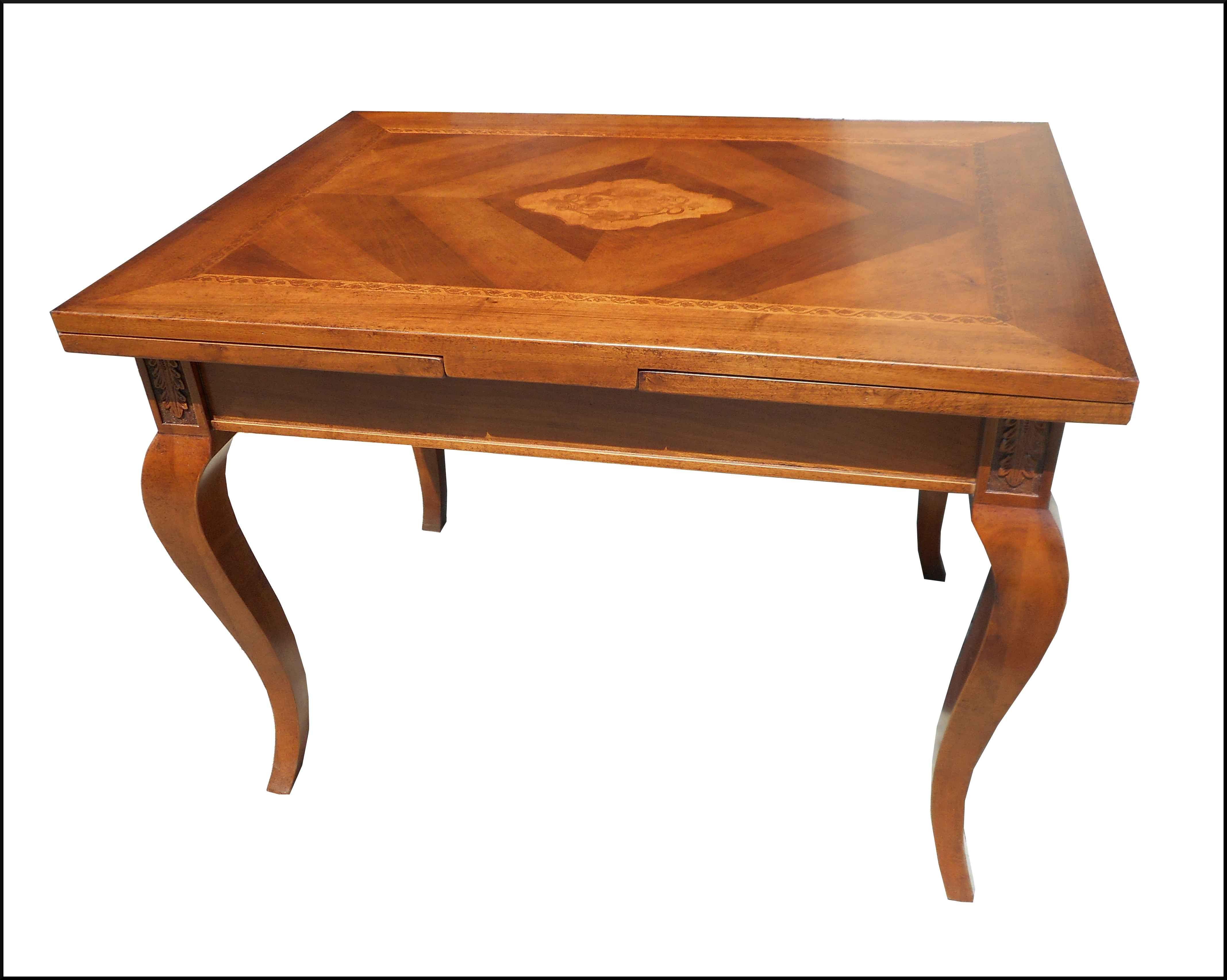 Tavolo classico con piano intarsiato apribile allungabile