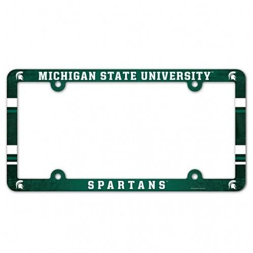 michigan state spartans plastic full color license plate frame backorder - Michigan State License Plate Frame