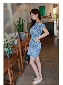 J74716 Off Shoulder Amoeba Printing Dress [J74716] - $7.63 : China,Korean,Japan Fashion clothing wholesale and Dropship online-Be the most beautiful Lady