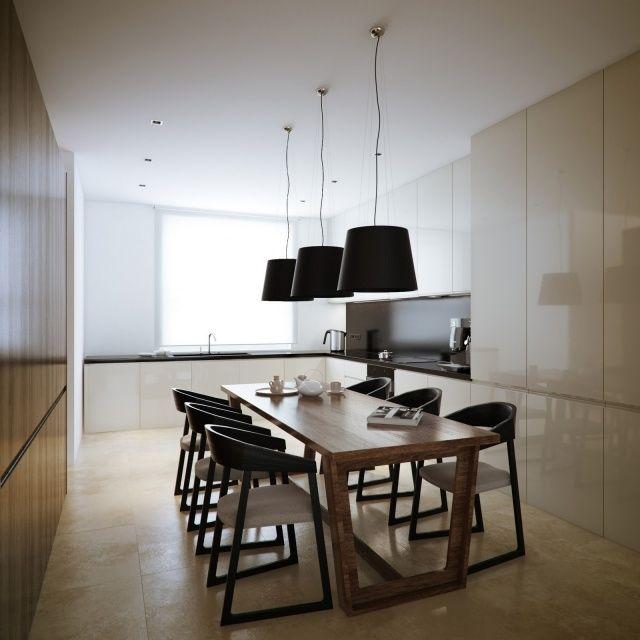 esszimmer-beleuchtungsideen pendelleuchten schwarze lampenschirme beige hochglanz küche grifflos