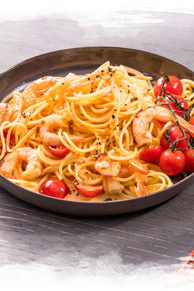 Photo of Spaghetti mit Garnelen und Paprika-Peperoni Sauce