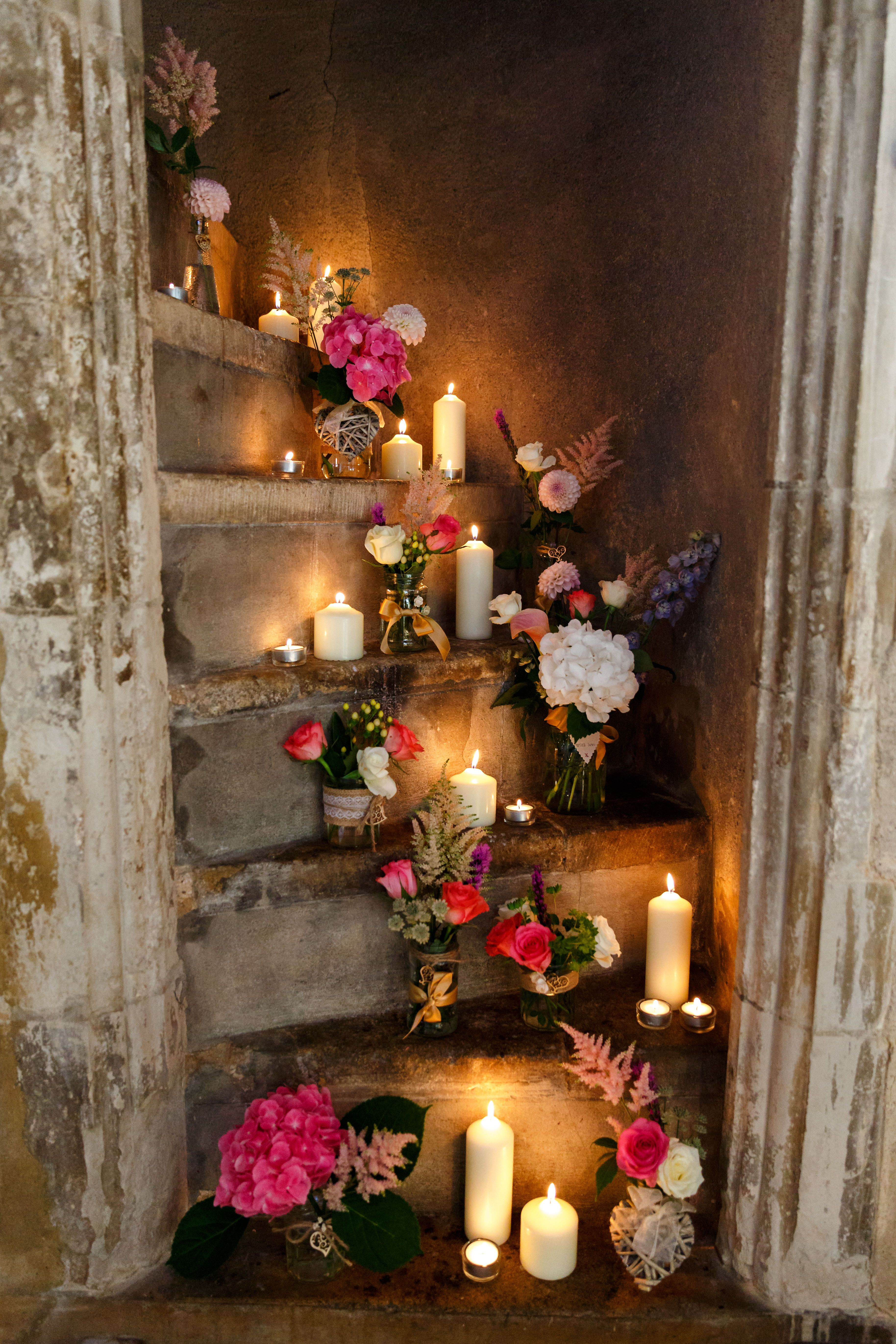 Church flowers at Hengrave Hall   Wedding ceremony flowers ...