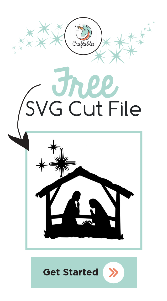 This free nativity SVG cut file is compatible with the