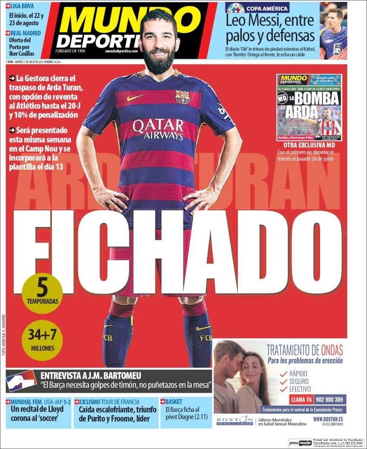 Mundo Deportivo (7 de julio de 2015) Portadas, Portadas