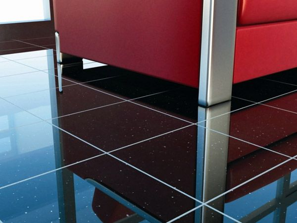 Kitchen Flooring Design With Black Granite Tiles