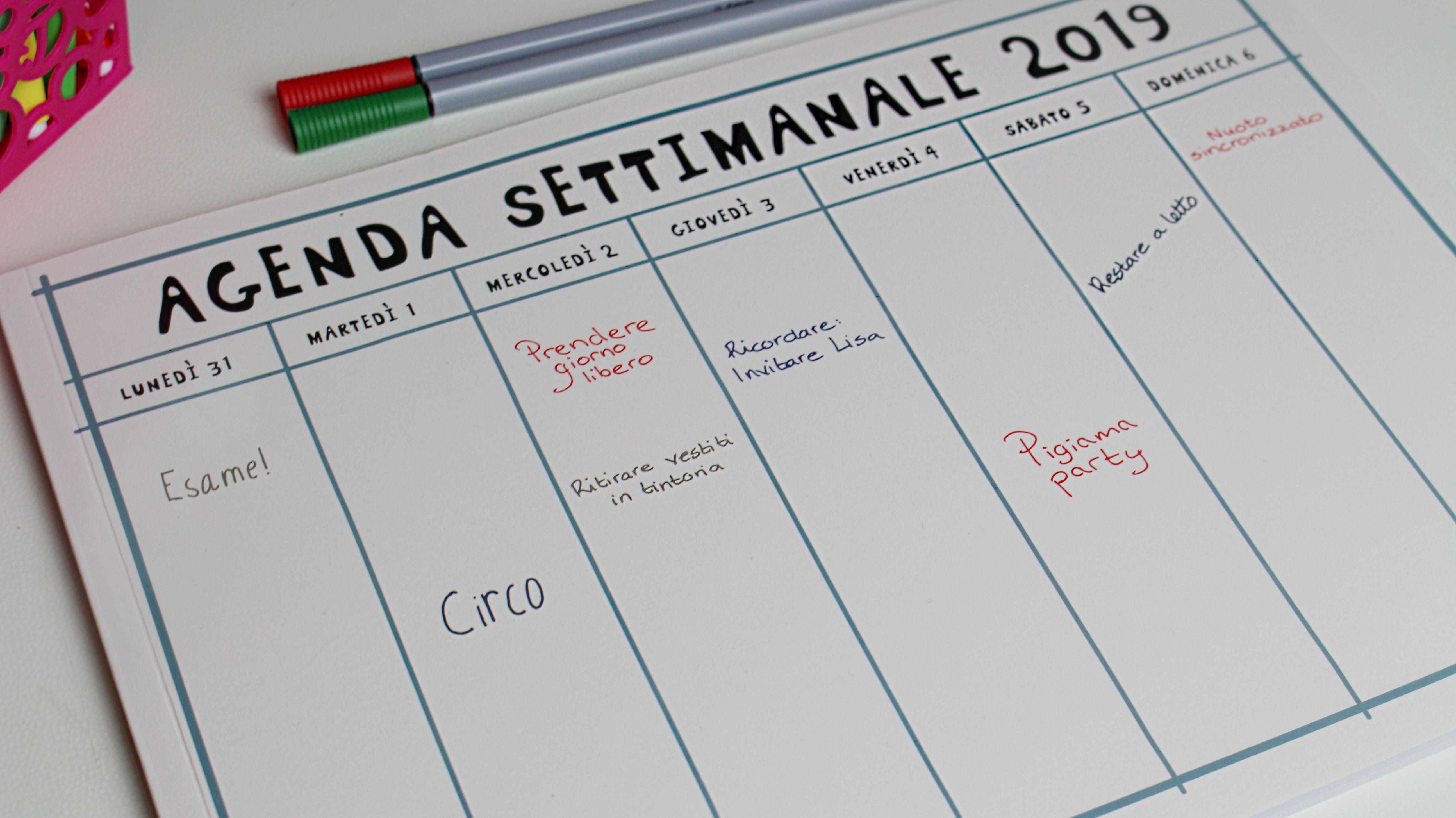 Calendario Tiger 2019.Agenda Settimanale 2019 Tiger Blog Agenda Settimanale
