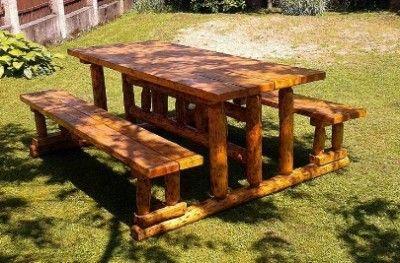 Casa Padrino Gartenmobel Set Rustikal Tisch 2 Garten Banke Mod