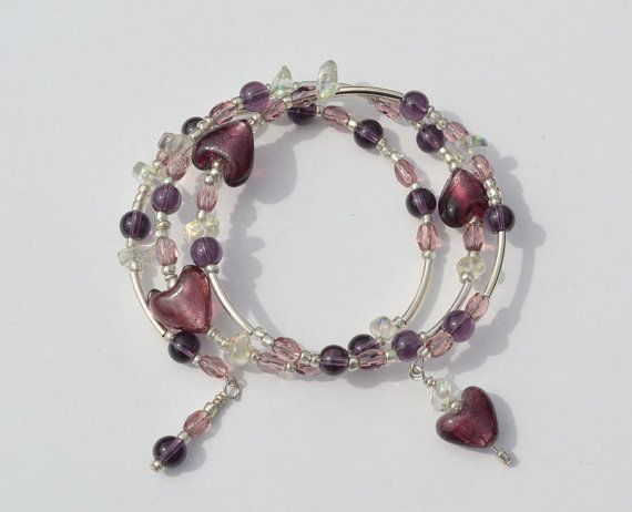 BEADED BRACELET  heart  ooak  amethyst   memory by HeketDesigns, $14.00