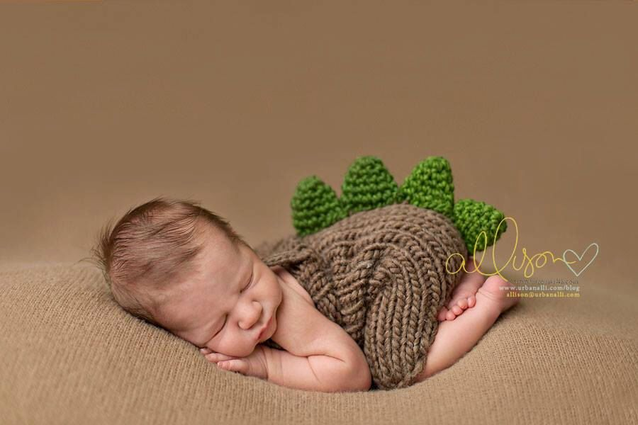 Newborn photo prop newborn knit romper newborn photography prop brown green dinosaur romper newborn