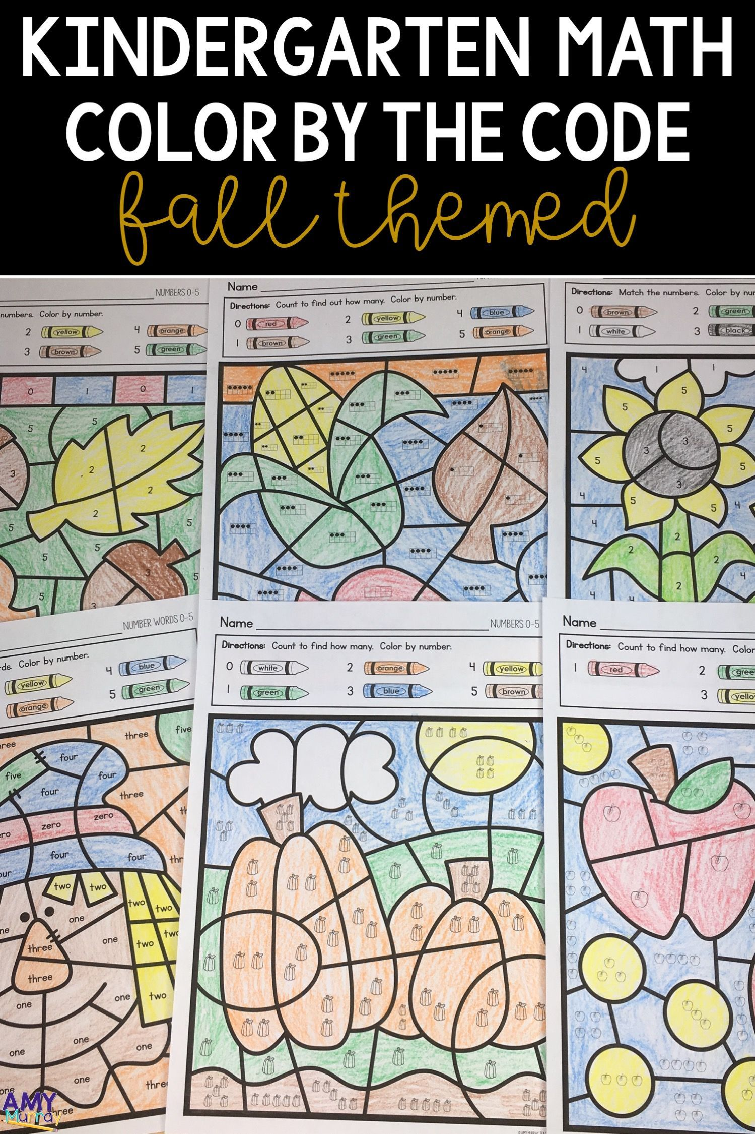 Fall Color By Number Kindergarten Math Worksheets