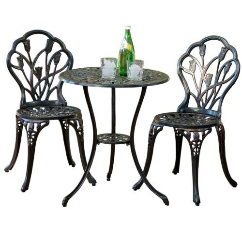 Cast Aluminum Rose Brown Outdoor Bistro Set Products Pinterest