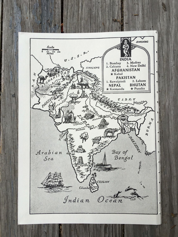 India map art vintage map print world travel decor nepal india map art vintage map print world travel decor nepal pakistan gumiabroncs Images