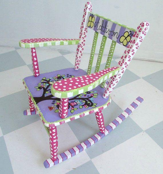 Kids Rocking Chair Custom Painted Kid Rocking Chair Hand Painted