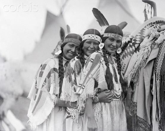 September 29, 1924 - Pendleton, Oregon. Three of the prize winners in a Native American beauty contest. Left to right, Minnie Patawa (Blue Meadow) of the Walla Walla tribe; Esther Motanic (White Fawn) of the Cayuse Indian tribe and Melissa Parr (Wood Dove) of the Umatillas.