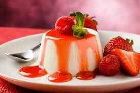 Delicious panna cotta dessert with fruit
