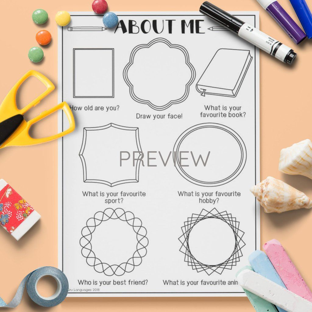All About Me Drawing Activity 2