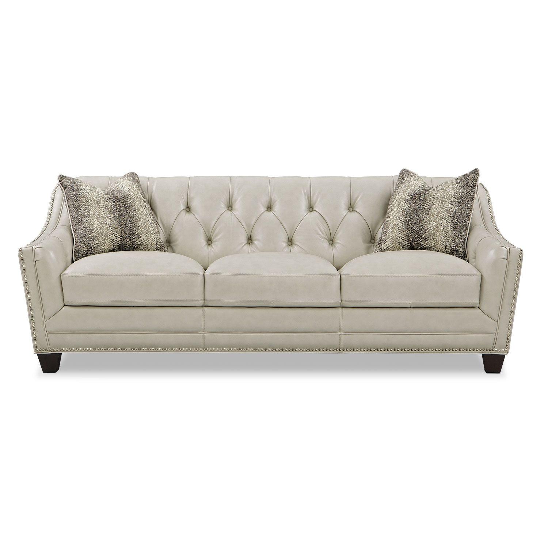 Vegas Retro The Alexis Vanilla leather sofa looks like something