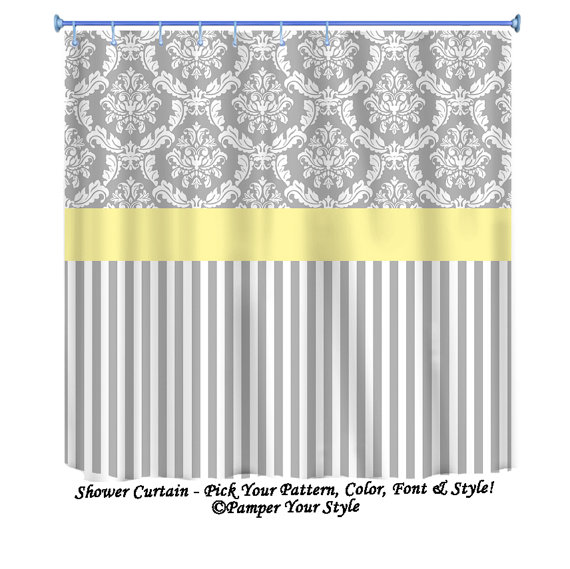 grey and aqua shower curtain. Damask and Stripe  Grey Yellow Shower Curtain Any Color Band Custom Monogrammed on Etsy 76 00