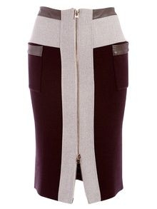 Hôtel Particulier Burgundy And Beige Zip Pencil Skirt