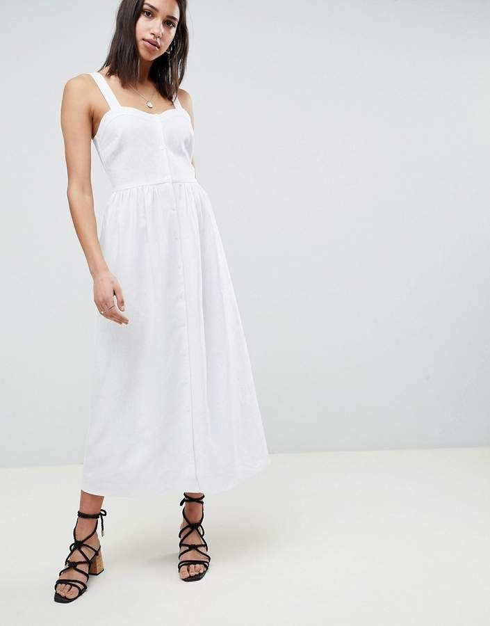 ASOS DESIGN Maternity Linen Button Through Maxi Dress - Stone Asos Maternity