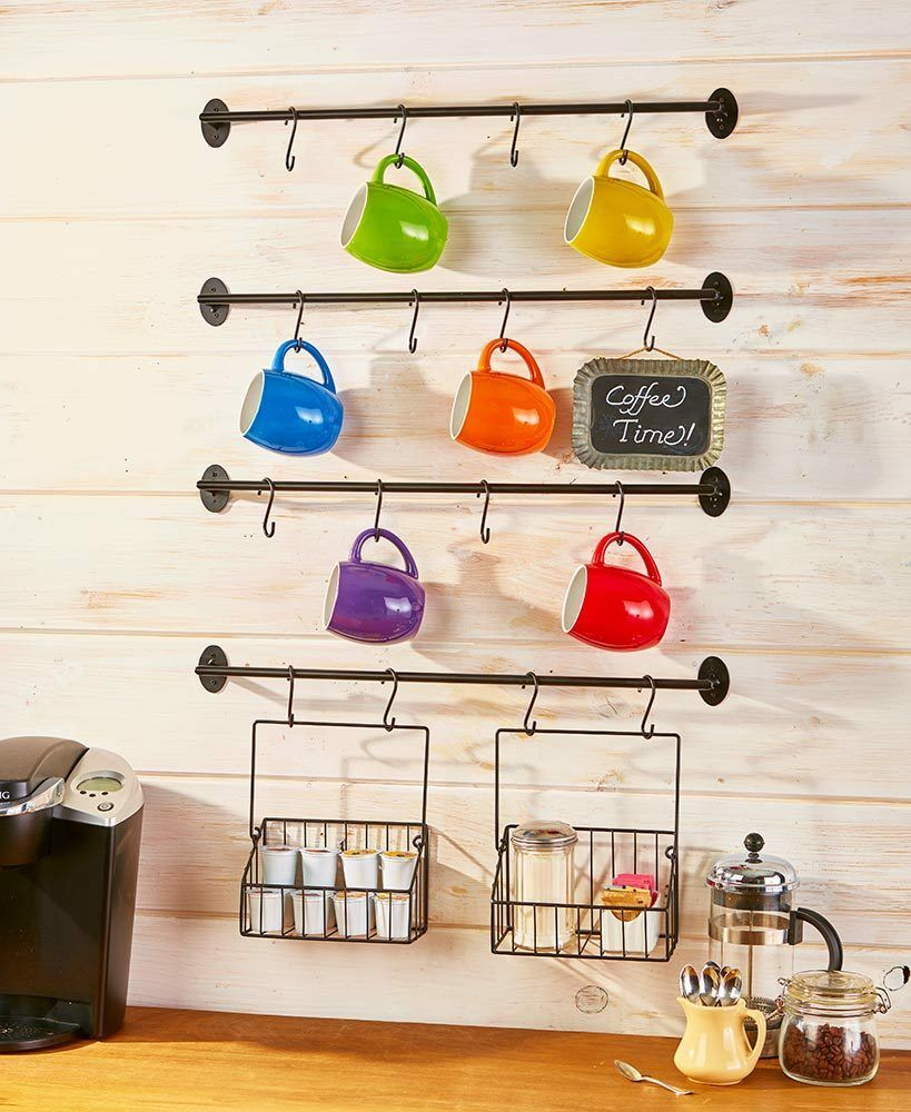 Wall Mounted Coffee Mug Rack K Cup Basket Holder Organizer