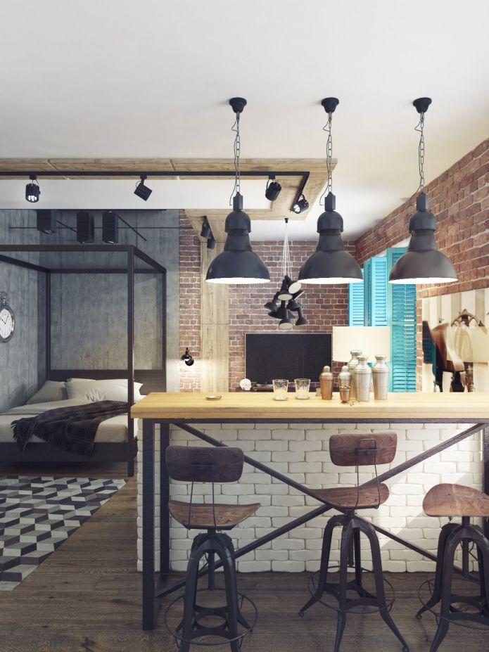 квартира студия в стиле лофт барная стойка квартира
