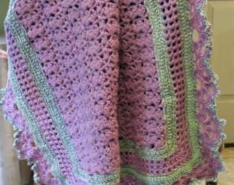 Lacy Crochet Lavender Crib Afghan with Pale Green Stripes