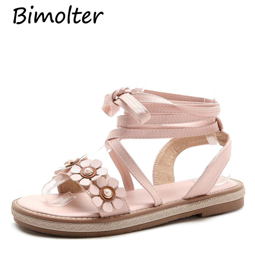 299acc66d0f Find More Low Heels Information about Bimolter Fashion Flower Cross Tied Gladiator  Sandals Summer Women Beach