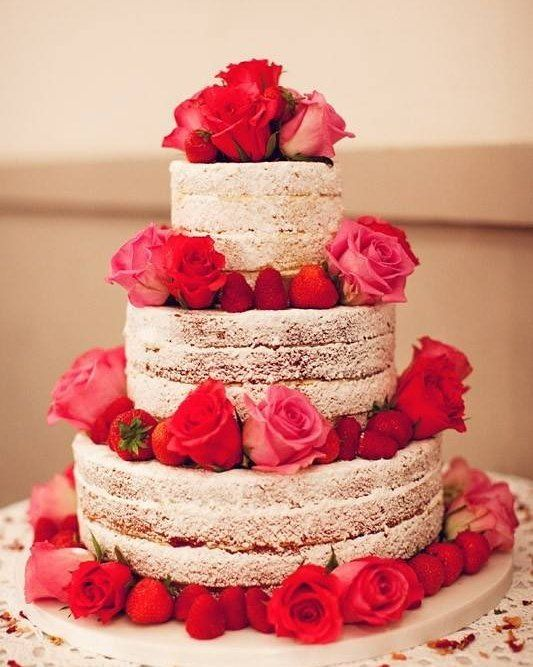 Wedding Cake Red Roses And Strawberries This Would Be Gorgeous Without The Ugly