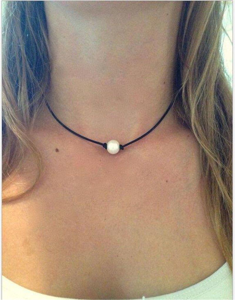 Women Pearl Necklace Leather Cord Choker Jewelry Handmade Choker Necklace New Du