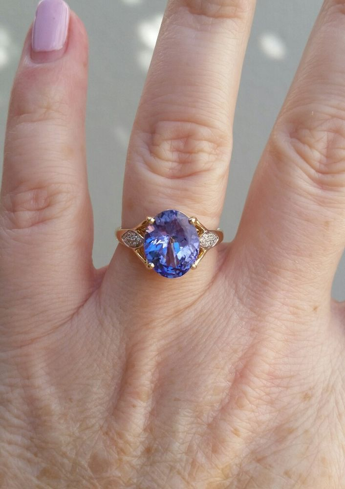 New 14k gold ring with huge 3 25 carat Tanzanite and diamonds