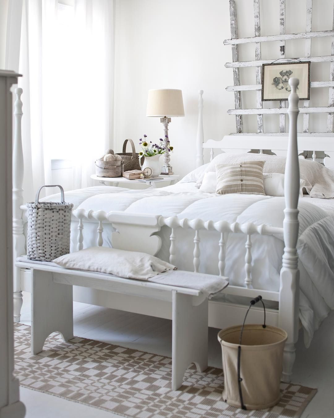 Light White Airy Guest Room With White Metal Bed And White