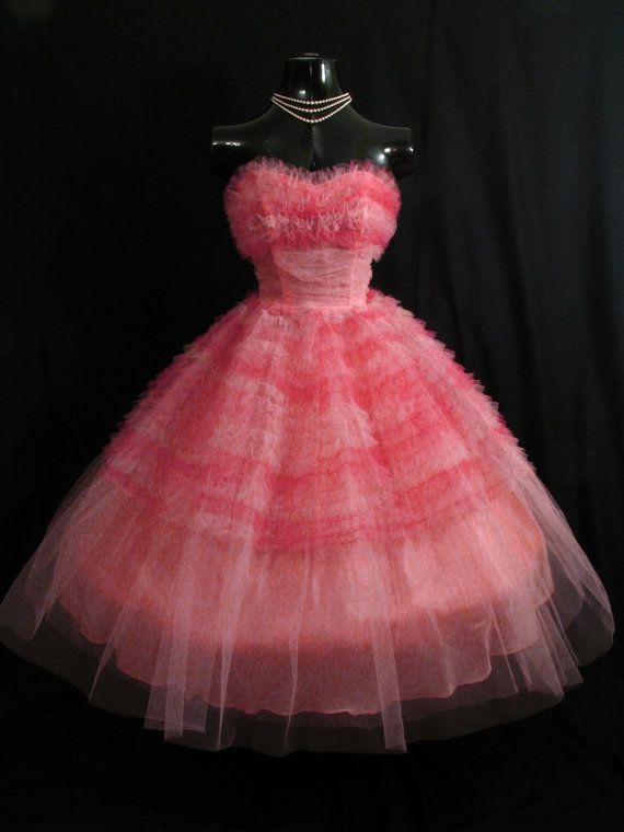 1950s Prom Dress In A Divine Pink Punch Color