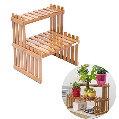 Exttlliy Bamboo Diy Tabletop Plant Stand 2 Tier Desktop 400 x 300