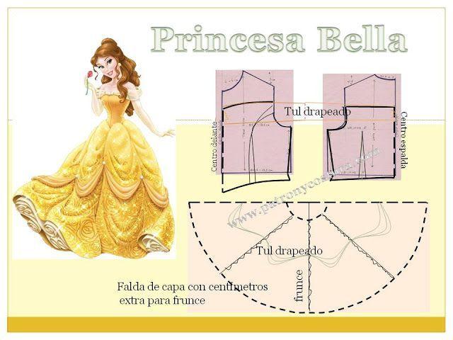 Bella princesa Disney.Tema 203 (PATRÓN Y COSTURA) | girl\'s dresses ...