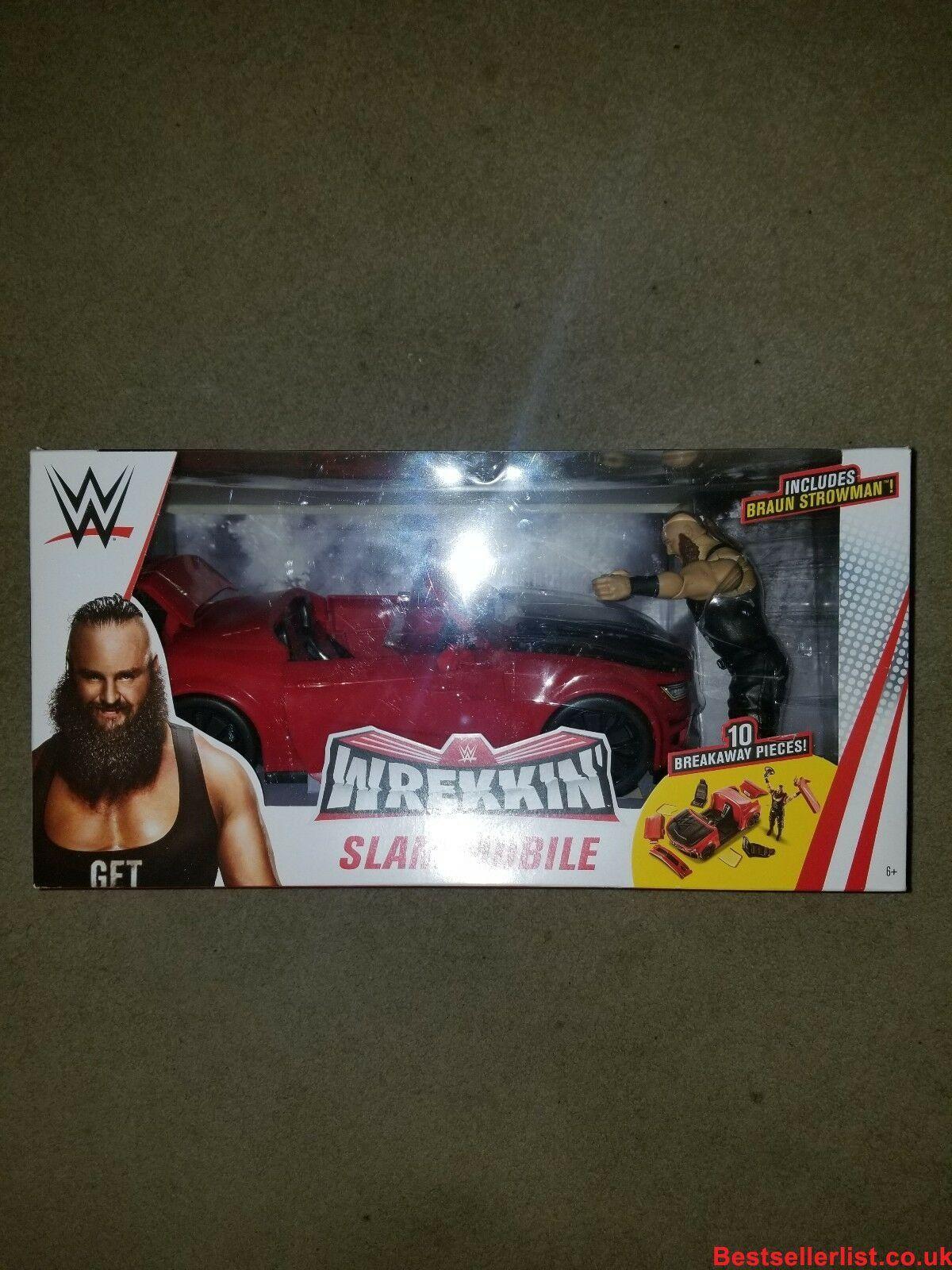 WWE Mattel Braun Strowman Wrekkin Slam Mobile Playset Car Toy Figure Wrestling!!