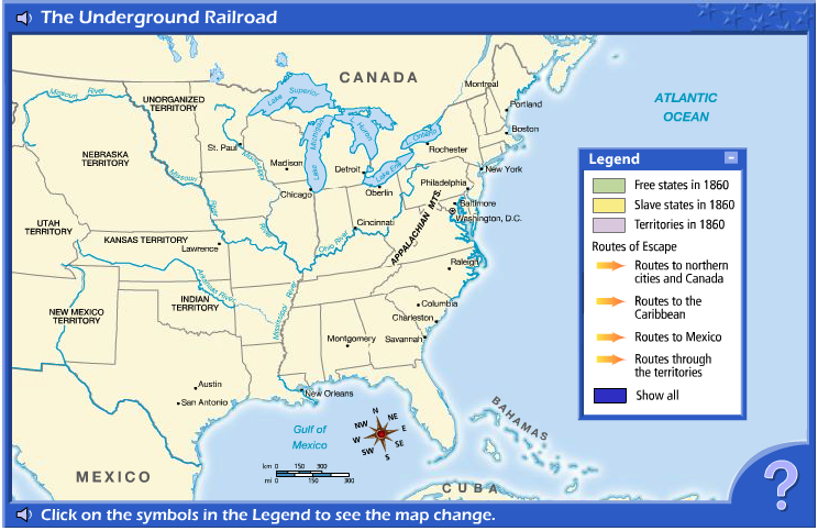 Interactive map and activities for the Underground Railroad | Civil ...