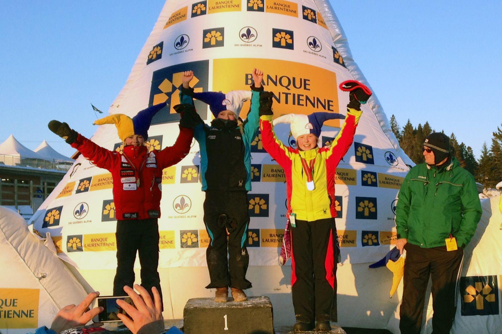 Défi Alpin du Carnaval - Podium U12 Filles cumulatif des 4 courses. La seule compétition provinciale annuelle regroupant les catégories U6 à U12.