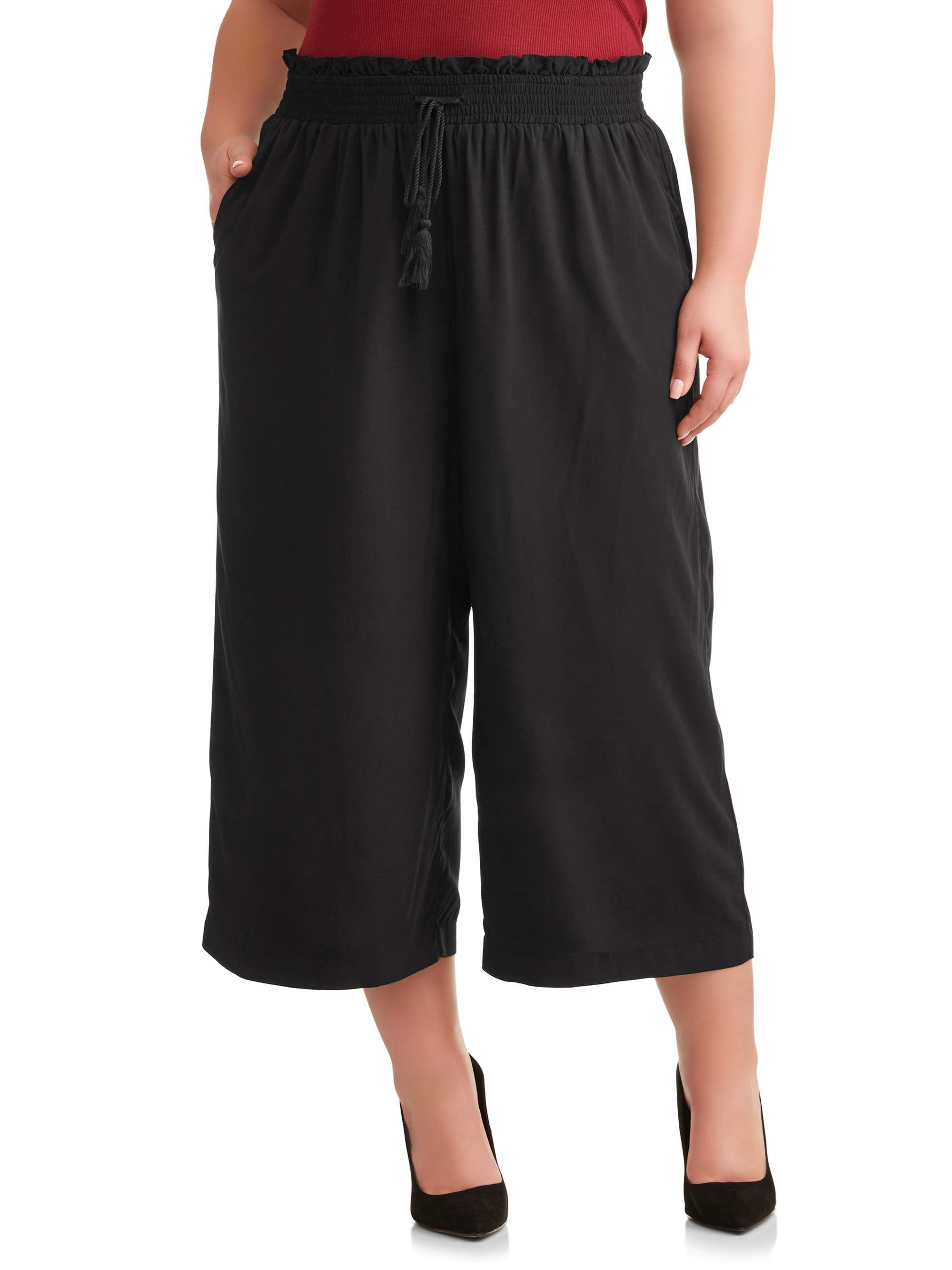 Terra Sky Terra Sky Women S Plus Size Solid Wide Leg Cropped Pant Walmart Com Wide Leg Cropped Pants Cropped Pants Wide Leg Crop [ 2667 x 2000 Pixel ]