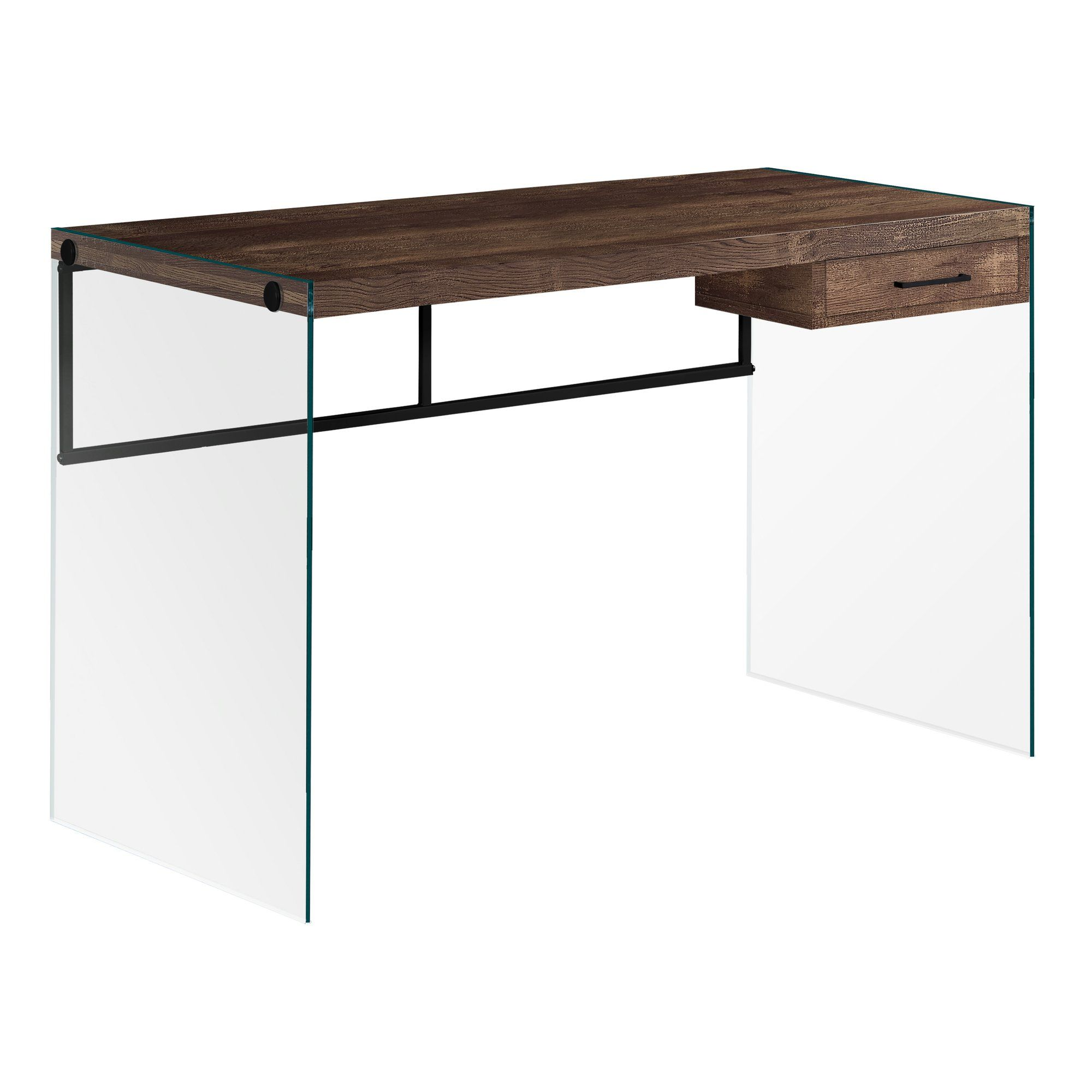 23 75 X 48 X 30 Brown Black Clear Particle Board Computer Desk Brown Computer Desk Computer Desk Glass Desk Office
