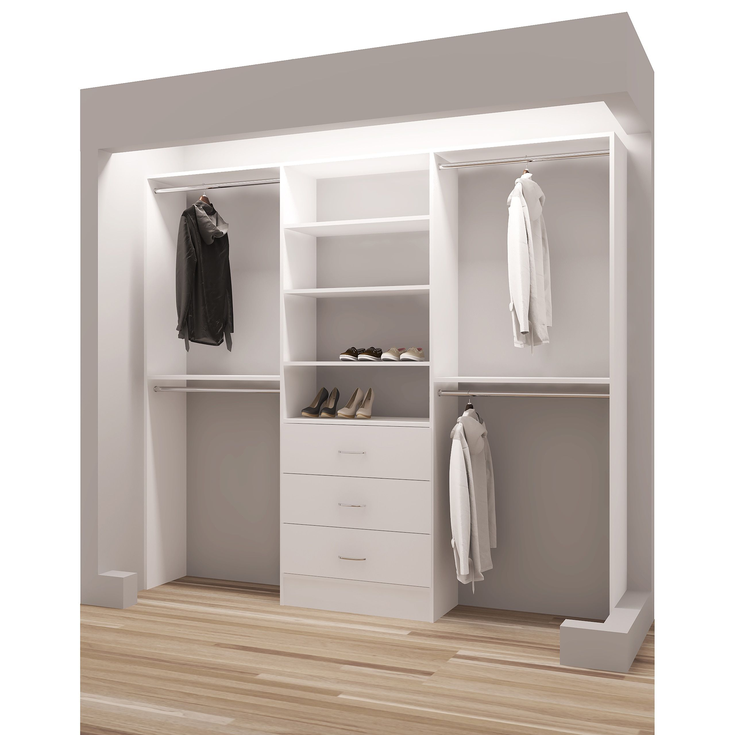 Tidysquares Classic White Wood 93 Inch Reach In Closet