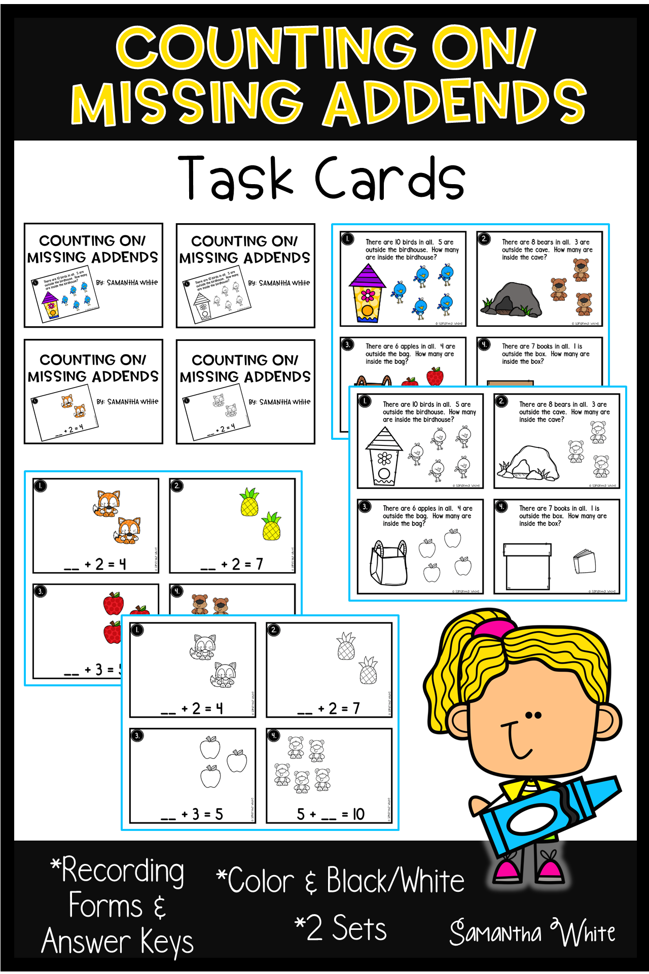 Counting On Missing Addends Task Cards