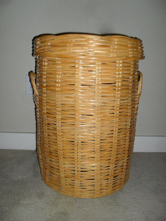 Vintage Mid Century Rattan Wicker Bamboo Laundry Hamper Basket Extra Large Wicker Wicker Hamper Laundry Hamper
