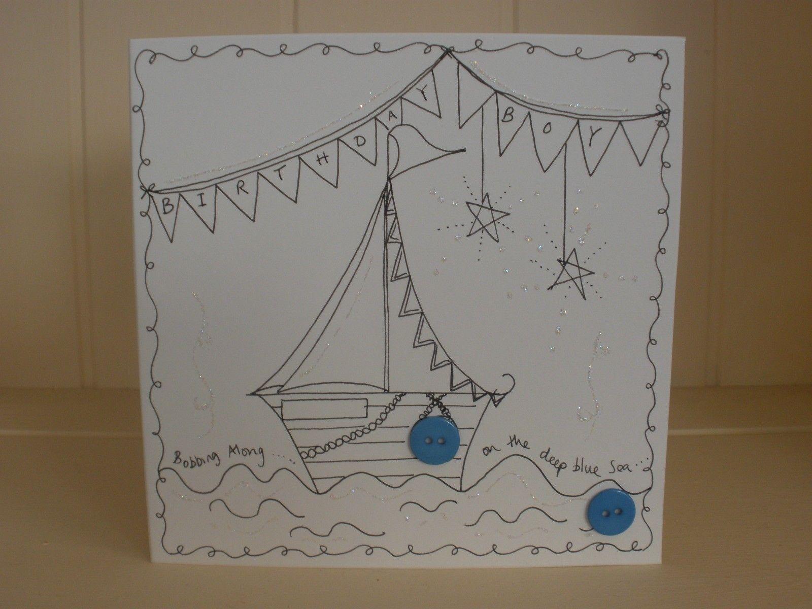 hand drawn birthday boy boat