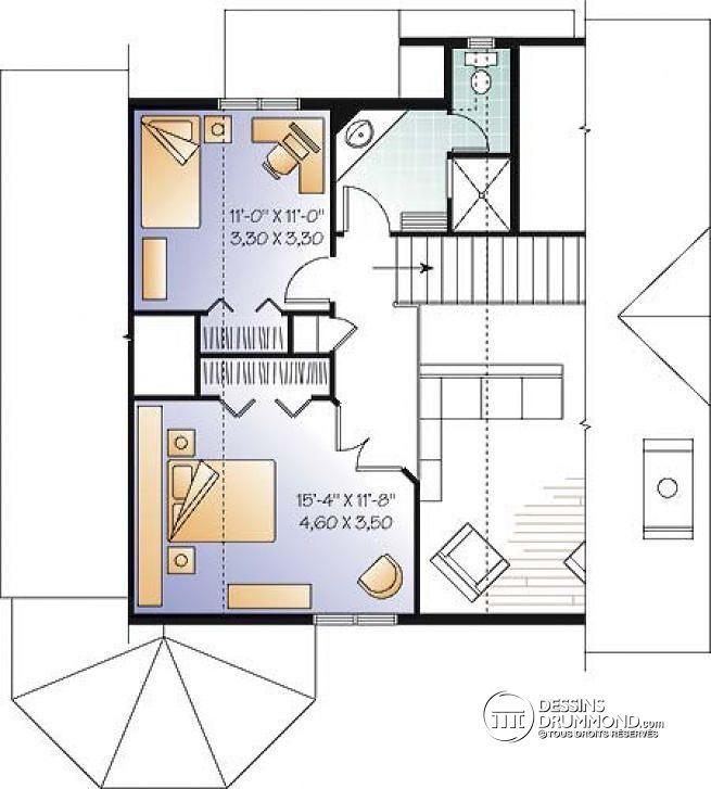 plan de tage chalet populaire avec 3 chambres mezzanine intrieur convivial rosemont 2 - Plan De Maison Avec Mezzanine